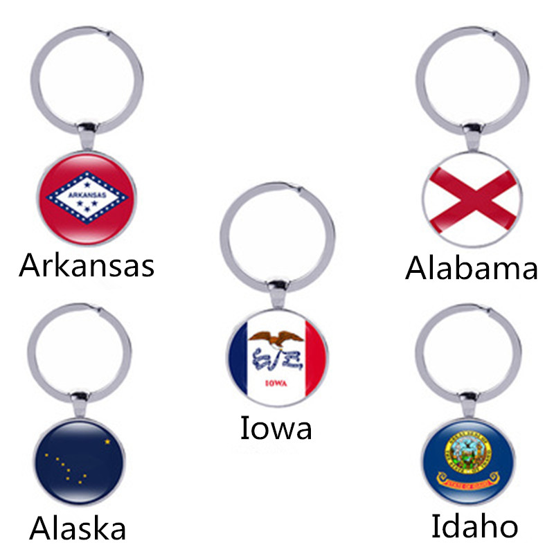 United States Map State Flag New Flag <font><b>Arkansas</b></font>, Alabama, Alaska, Idaho, Iowa Flag Keychain Female Accessories image