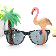 Coconut Tree and Flamingo Summer Carnival Party Sunglasses Women Creative Funny Props Glasses Sandy Beach Spectacles UV400 L2