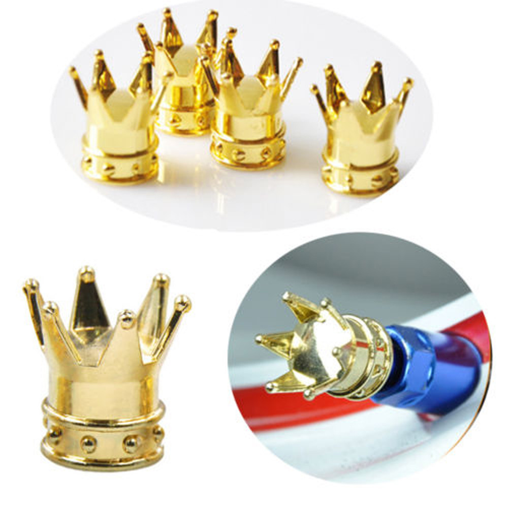 4 Pcs New Golden Crown Car Bicycle Motorcycle Chrome Crown Tyre Tire Wheel Stem Air Valv ...