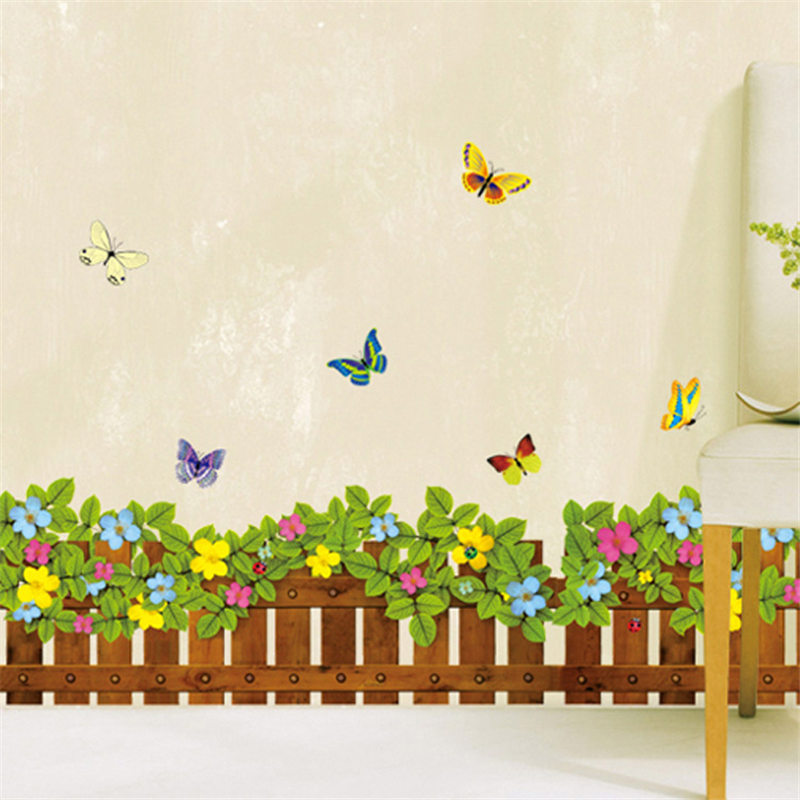 Fence Flower Plant Skirting Line Country Style Wall Stickers Living Room Showcase Home Decor