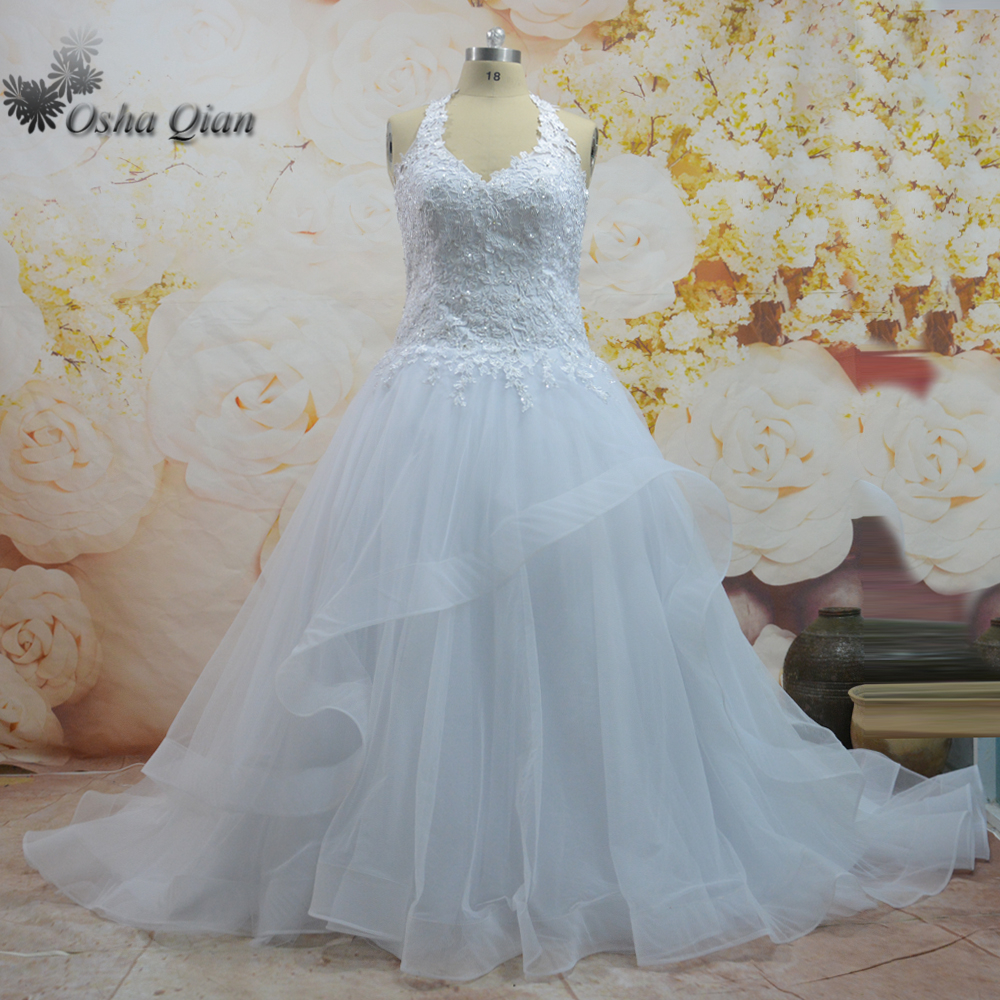 Halter Bridal Gowns White Beads Zip Lace Wedding Dresses Plus Size ...