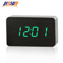 JINSUN Wood Bamboo LED Alarm Clock Reloj Despertador Modern Temperature Desk Clock LED Electronic Desktop Digital Table Clock