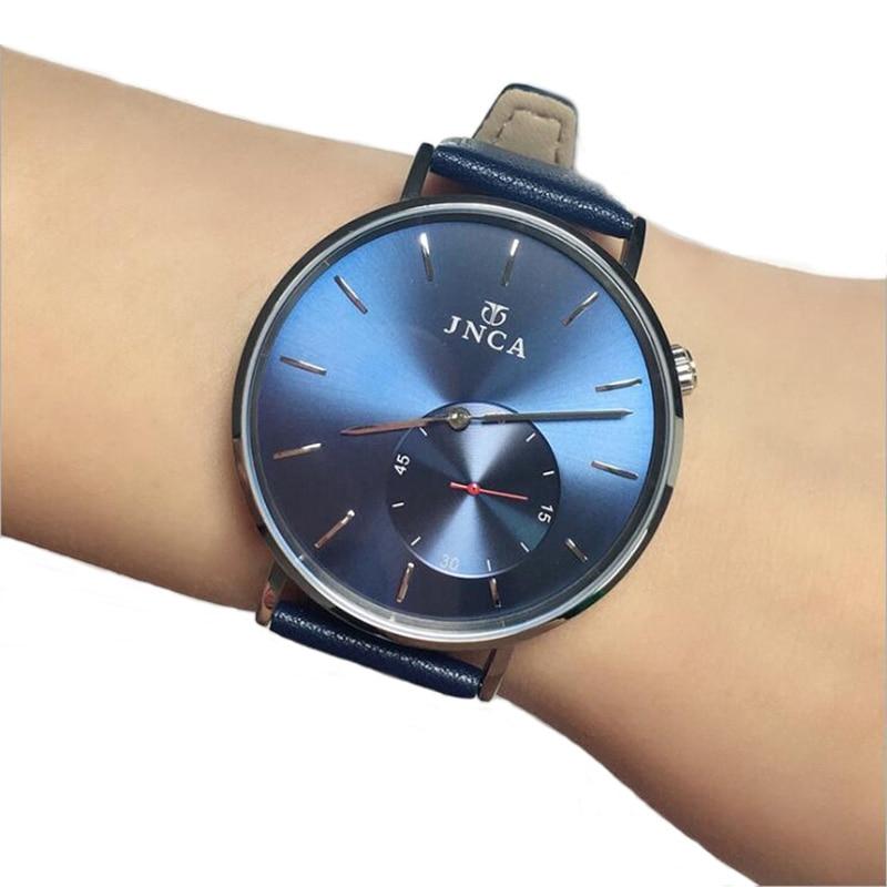Часы для мужчин s Нержавеющая сталь Кожаный ремешок кварцевые часы Мода синий черный человек часы стиль для мужчин платье часы 40 мм