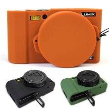 Agradável capa protetora do corpo para panasonic lumix lx10 macio silicone saco da câmera para panasonic lumix L X10 com tampa de borracha da lente