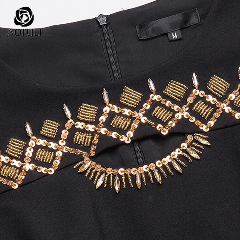 D'oro Borda 3680 Abbigliamento Collare Geometrica S Che Primavera Donne Il Vestito Plus Nero 2018 Cava 5xl Aofuli Size Paillettes TwqI7axFa