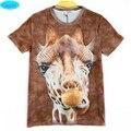 Caliente venta nuevo estilo animal impreso 3D T-shirt para adolescentes de las muchachas 2016 del verano del estilo jirafa divertida 3D impreso embroma la camiseta unisex CT6