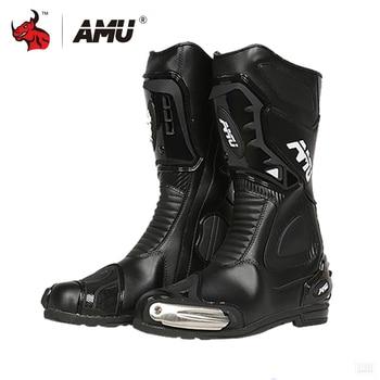 AMU Leather Motocross Boots Motorcycle Boots  Men Waterproof Moto Boots Motorbike Riding Boots Black Botas Moto Motorcycle Shoe