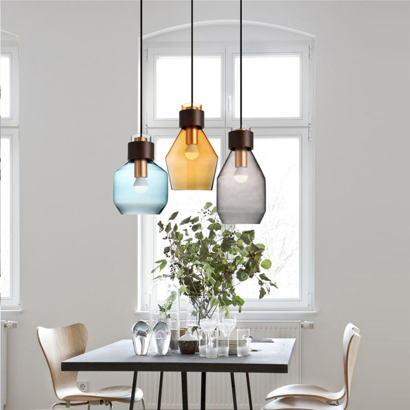Bar single glass pendant lamp gray  Blue amber glass lampshade E27 LED pendant lights bar cafe salon indoor lighting fixture edison inustrial loft vintage amber glass basin pendant lights lamp for cafe bar hall bedroom club dining room droplight decor