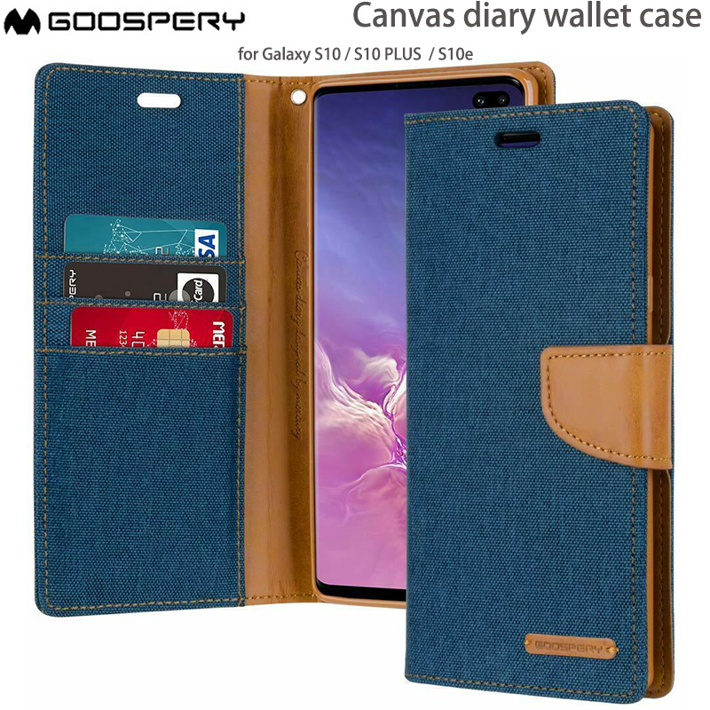 Blue GOOSPERY Canvas Wallet for Samsung Galaxy Note 10 Plus Case 2019 NT10P-CAN-BLU Denim Stand Flip Cover