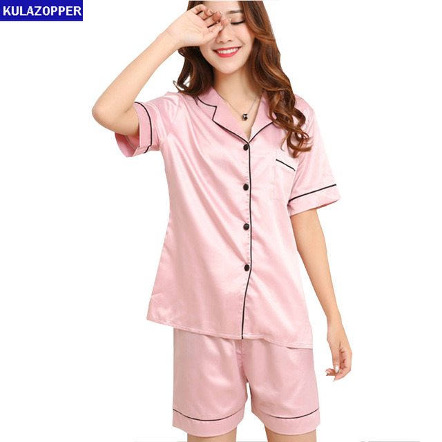 08509796a6b Two Piece Set Women Sleepwear Silk Pajamas 2019 Summer 3XL Plus Size  Homewear Feminino Sexy Turn