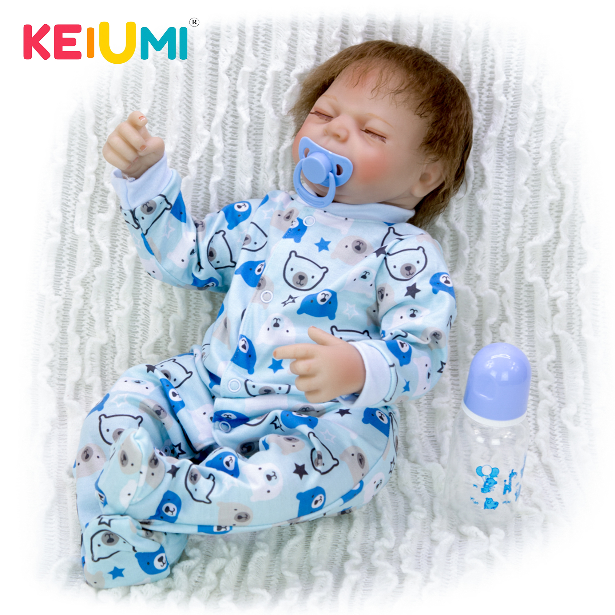 KEIUMI Lifelike Silicone Reborn Baby Doll 20 Inch PP Cotton Body Babies Boy Real Like Sleeping