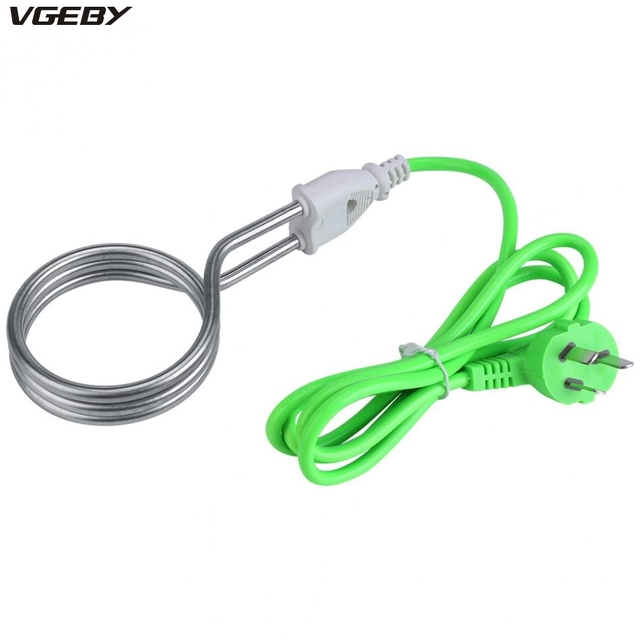 1800w 220v Portable Electric Immersion Heater Boiler Water Stainless Steel Heating Element For Home Travel