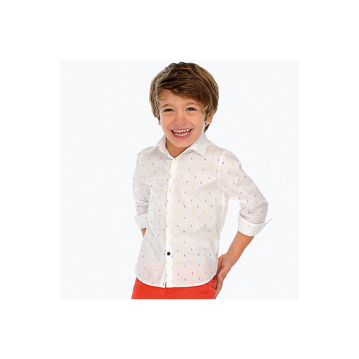 Blouses & Shirts MAYORAL 10690523 Children s Clothing shirt with long sleeve for a boy natural materials trendy round neck long sleeve love potion jacquard women s sweater