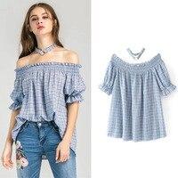 Off Shoulder Women Blouse Sexy Blue Plaid Shirt Loose Ruffle Tops 2017 Short Sleeve Korean Summer
