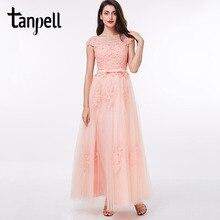 アップリケウエディングドレス赤オフショルダー床の長さドレスサッシバックジッパーアップ格安パールピンクロングドレス Tanpell
