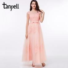 Tanpell アップリケウエディングドレス赤オフショルダー床の長さドレスサッシバックジッパーアップ格安パールピンクロングドレス