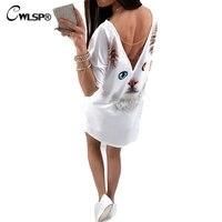 CWLSP 2017 Zomer Vrouwen Terug Split 3D t-shirt Jurk Plus sectie Witte Vlinder Kat Patroon t-shirt jurk Vrouwen Vestidos QZ2139