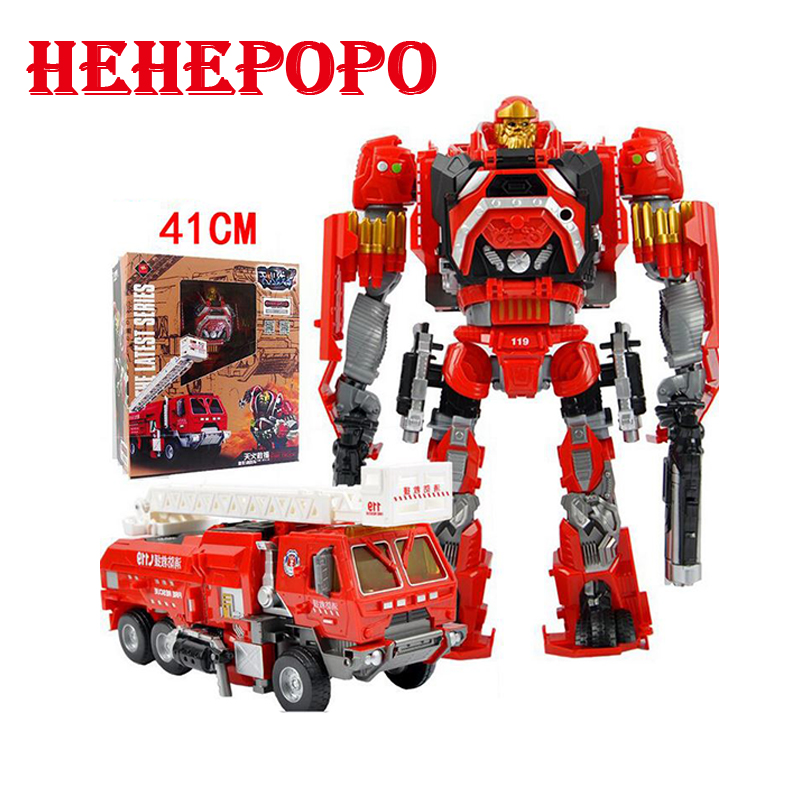 2017 Cool Deformation Toys Fire Engine Robot Light Sound Equipped With 6 Guns Weapons Children's Model Car FireTruck Kid's Gift car transformers deformation robot transformers bumblebee model car toys for children
