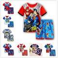2016 nueva manera de la ropa del Muchacho Niños de dibujos animados pijamas traje ropa de dormir de algodón bebé conjunto de dibujos animados camisetas + pantalones cortos