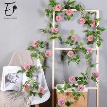 Erxiaobao Artificial Flowers Pompon Mum Fake Chrysanthemum Silk Dendranthema Flower Vine Home Party Wedding Wall Hanging Decor