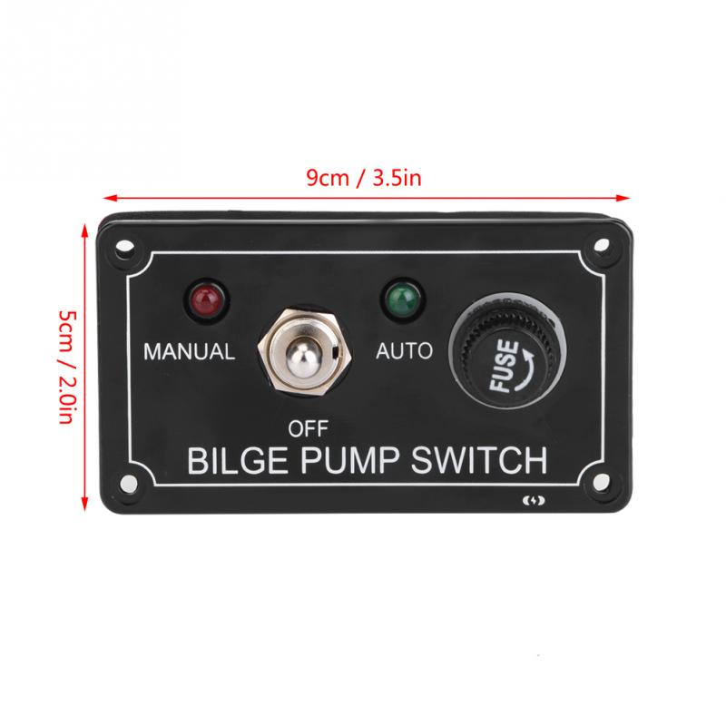 3 Way DC 12V Fused Marine Bilge Pump Switch Panel with LED Indicator Light Tools