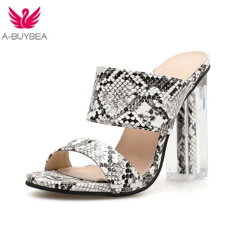 2019 New Sexy Serpentine Women Slipper Sexy Transparent Thick Heels Sandals Woman High-Heeled Women Summer Party Shoes Size 40