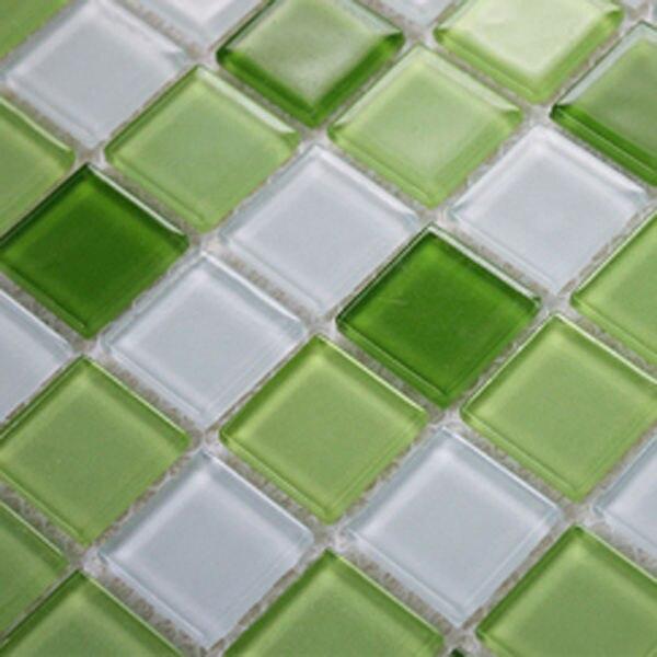 Azulejo del vidrio cristalino verde y blanco mezcla for Azulejo de la pared de la cocina verde