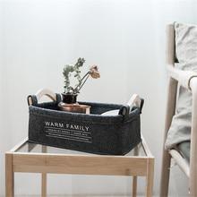 Nordic Black Felt Cloth Storage Basket with Wooden Handles Simple Home Desktop Sundries Organizer Frame Ins Toys Finishing Baske