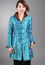 Autumn New Blue Chinese Female Satin Coat Long Windbreaker Mandarin Collar Jacket chaquetas mujer S M L XL XXL XXXL M-60