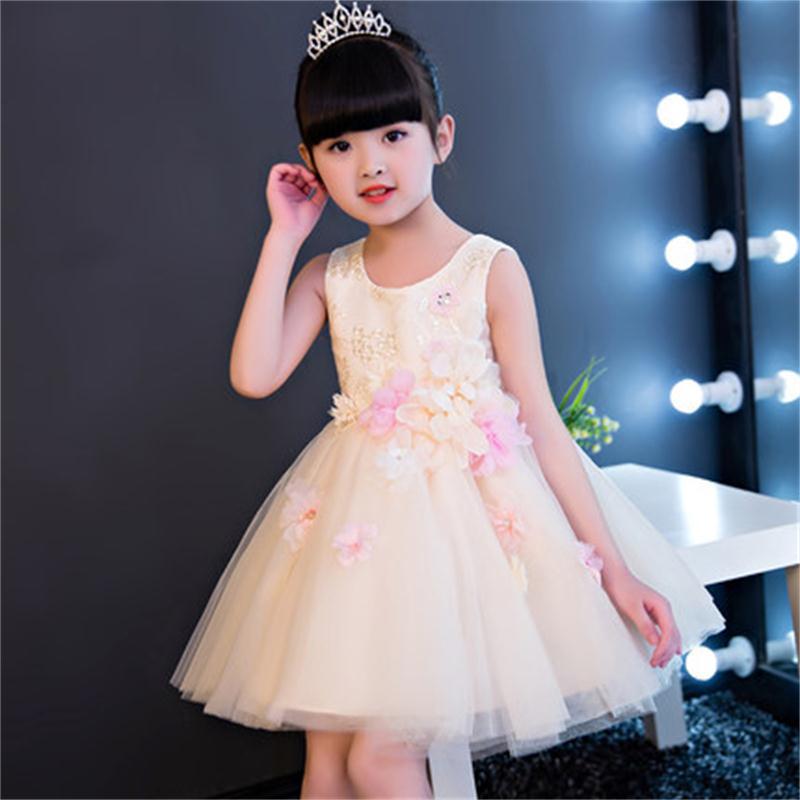 High quality girls dress princess dress champagne children dance show evening dress цена