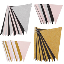 Pink White Gold Flag Banner Glitter Paper Pennant Bunting for Home Wedding Decoration Birthday Party