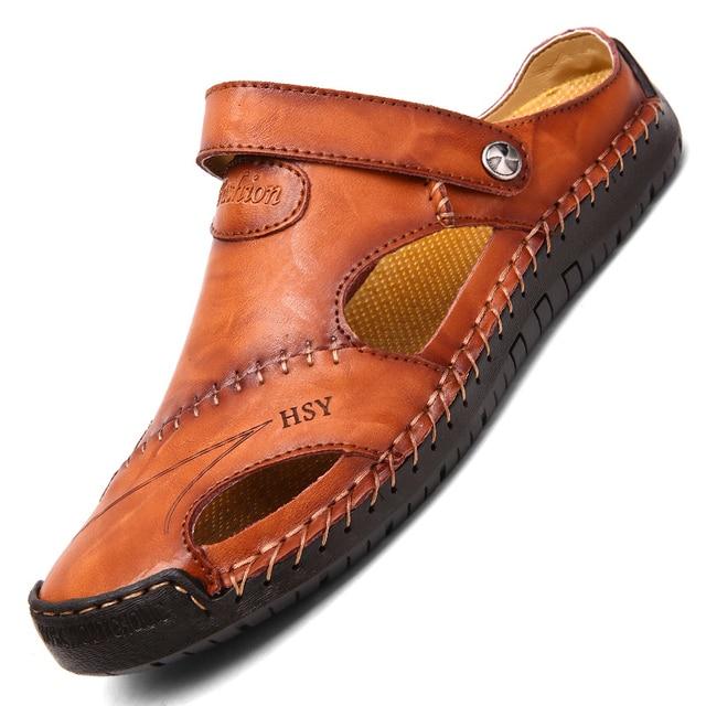New Classic Leather Men Soft Sandals Shoes Summer Leisure Beach Roman Men Sandals High Quality Sandals Slippers Bohemia Big Size 2