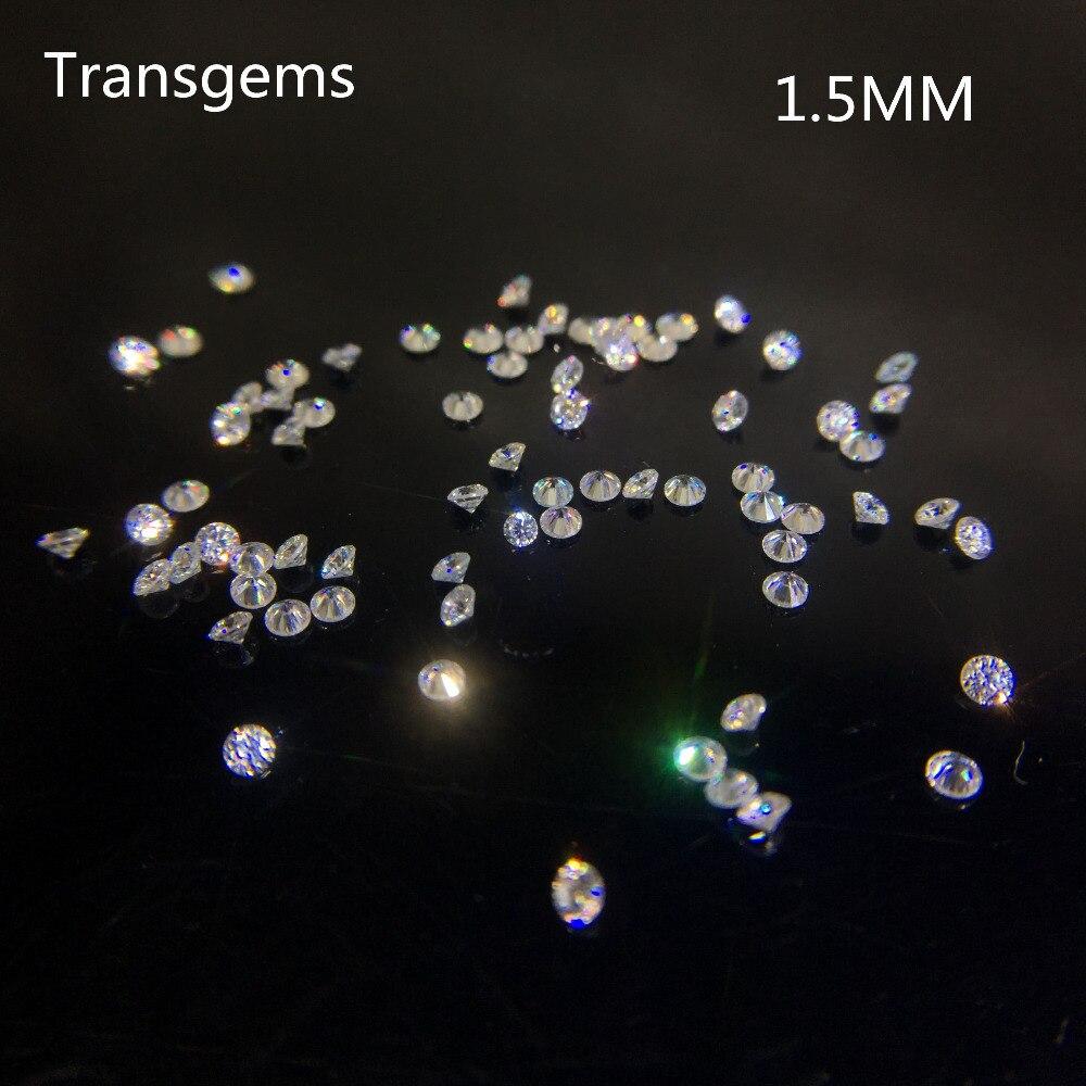 TransGems 1.5mm = 0.014 carat Total 1 CT F Couleur Laboratoire Certifié Cultivé Moissanite Diamant Perle Lâche Positif