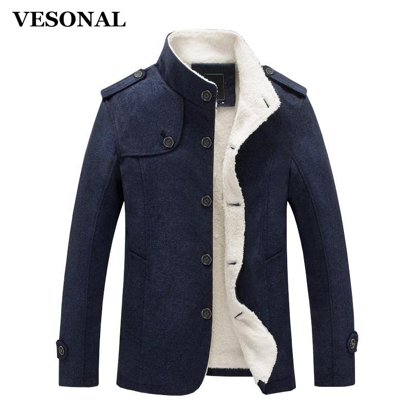 VESONAL Autumn Winter Casual Men jacket Male Cotton Slim Coat Men Warm Velvet Fashion Fleece Spring