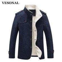 VESONAL Autumn Winter Casual Men jacket Male Cotton Slim Coat Men Warm Velvet Fashion Fleece Spring Jackets Stand PYEJJ1815