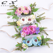 Rose Flower Headband Floral Hairband Hemp Rope Tie Hair Bands Girl Felt Scarf Accessories For Woman Bride Bridesmaid