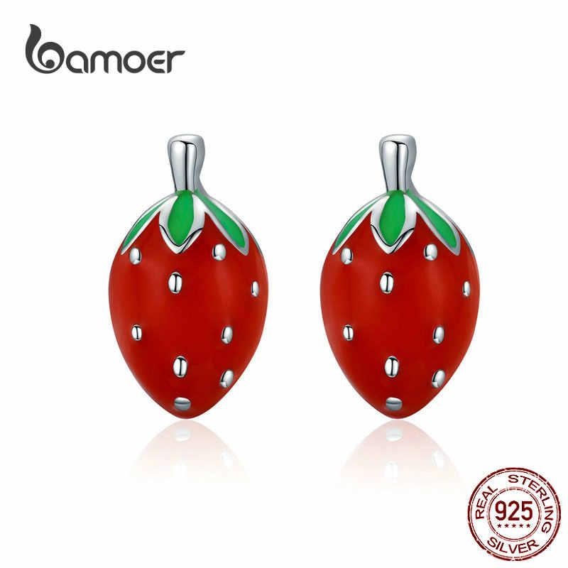 Bamoer pouco morango esmalte parafuso prisioneiro brincos 925 prata esterlina fruta vermelha orelha jóias 2019 brincos presentes quentes para meninas sce626