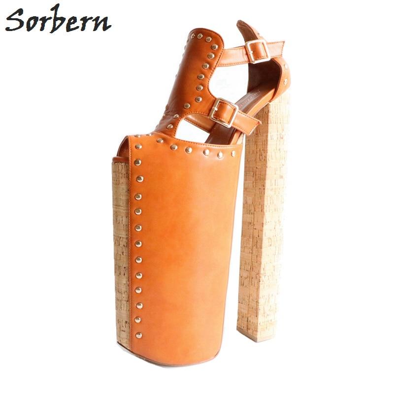 Sorbern Marrone Più di 30 cm Grosso Tacco Alto Pompe Donne Us15 Open Toe Pompe Delle Donne Scarpe Display Shoe Mostra Pista tacchi di Colore Fai Da Te
