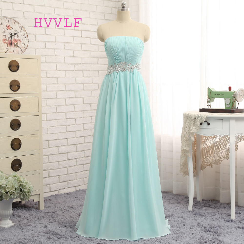 New Turquoise Evening Dresses 2019 A-line Strapless Chiffon Beaded Backless Elegant Long Evening Gown Prom Dress Prom Gown