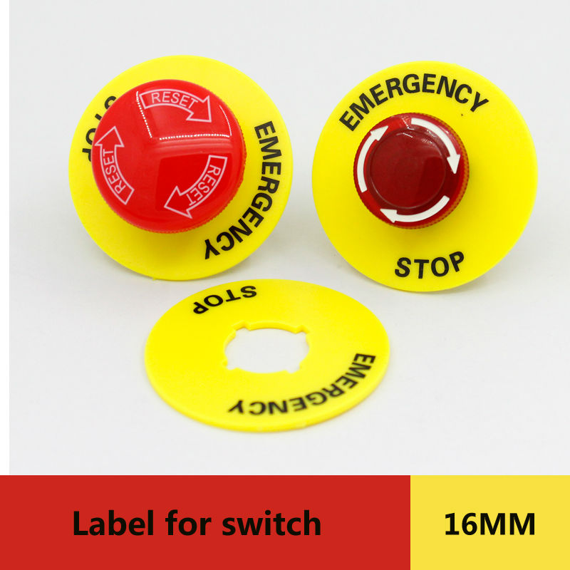 5pcs packing dia.16mm label HABOO emergency stop label warning label for emergency push button switch shipping free