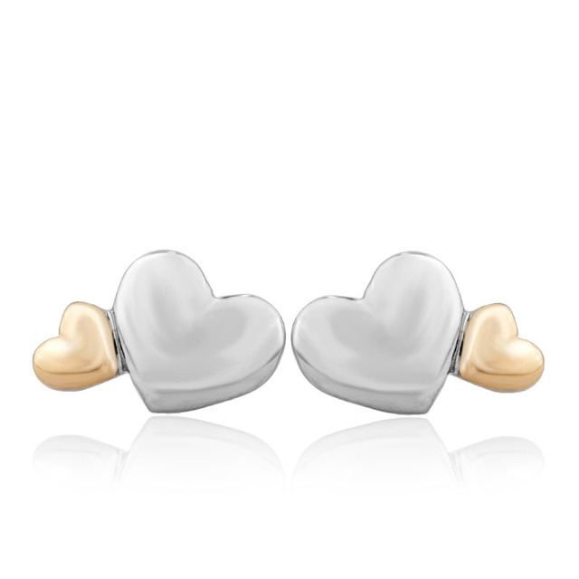 Free Shipping 1 Pair Women Silver Gold Heart Earrings Ear Studs Fit European Jewelry A314