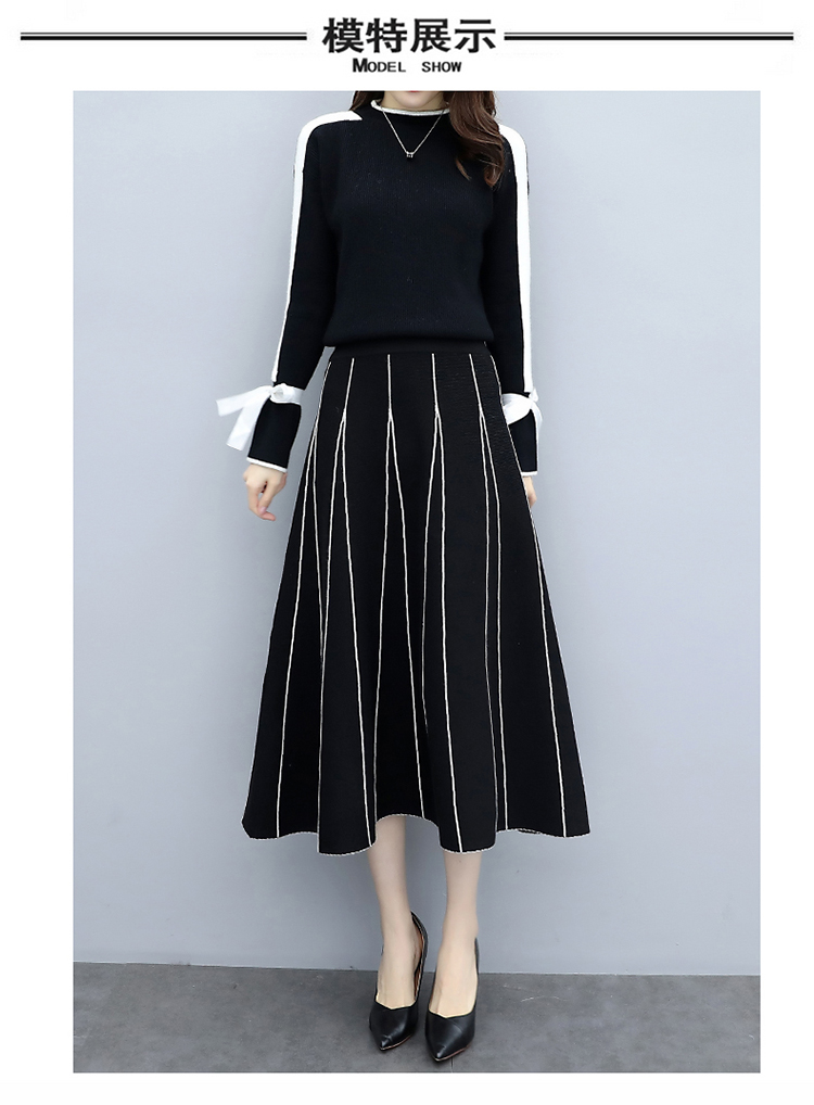 Plus Size Black Women Knitted Two Piece Sets Bow Tie Sweater And Long Skirt Suits Sets Winter Casual Elegant Vintage Ladies Sets 41