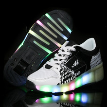 2016 Children Heelys Wheels Shoes with Led Light New Brand Kids Roller Skate Sneakers Boys Girls Luminous Glowing Fashion Shoes