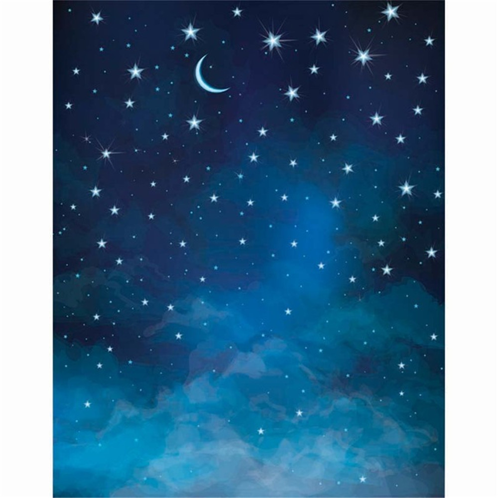 Crescent Moon Glitter Stars Blue Night Sky Photo Backdrop