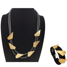 YD&YDBZ Trendy Rubber Jewelry Set Women Necklace And Bracelet Punk Style Fast Shipping Geometric Jewellery Fashion Designer