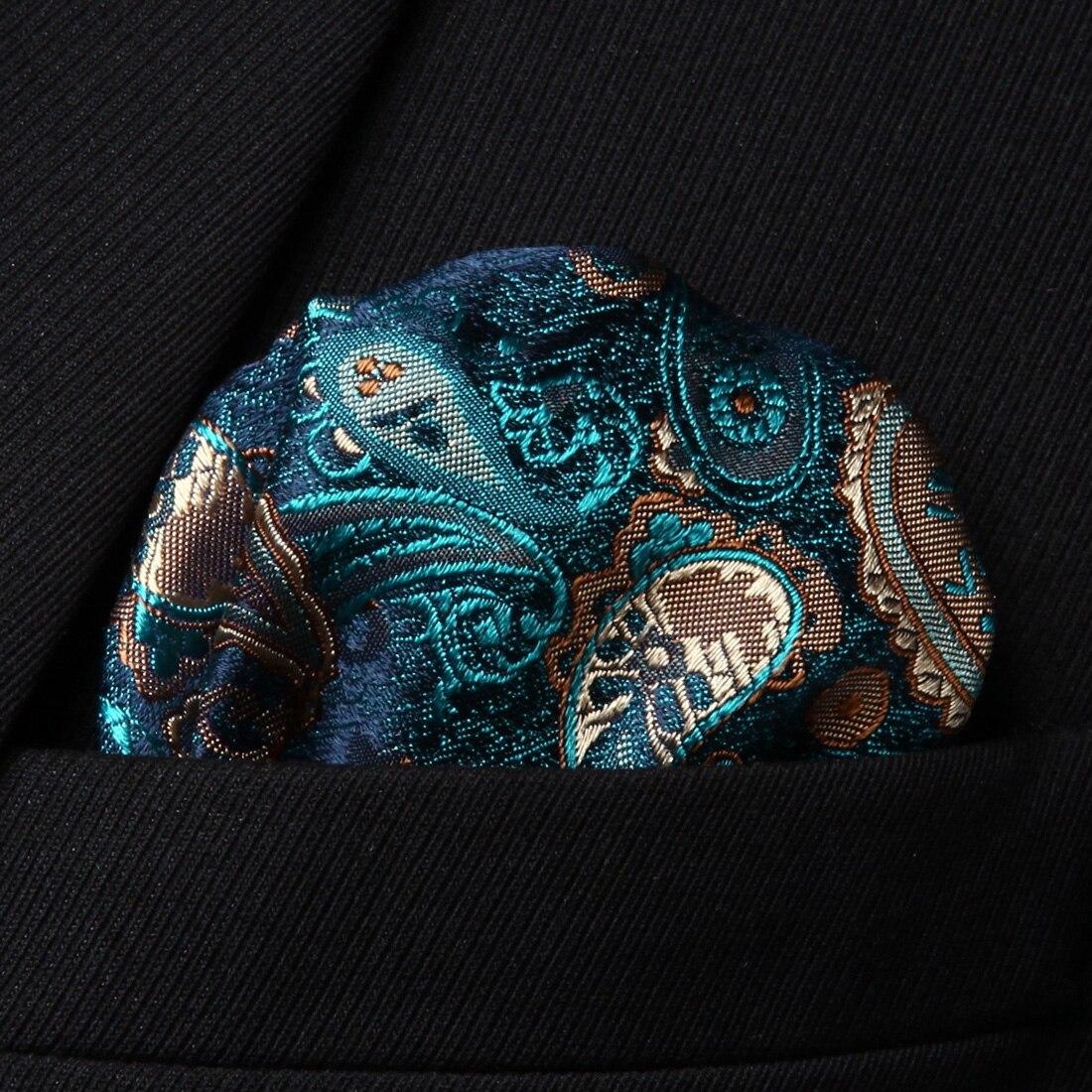 HP711Q Green Brown Paisley Men 100% Silk Party Handkerchief Pocket Square Hanky