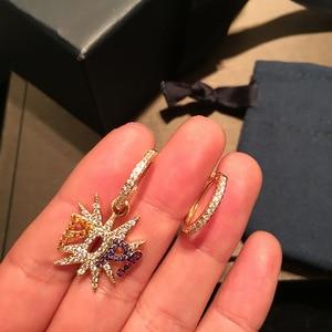 Image 2 - UMGODLY מותג אסימטרית ססגוניות מעוקב Zirconia כוכב מכתב פופ עגילי נשים אופנה רוק תכשיטי אפריל חדש הגעה