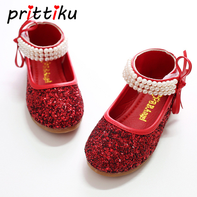 Toddler Girl Mary Jane Bead Strap Flats Little Kid Performance Cosplay Princess Dancing Loafers Big Children Ballet Dress Shoes