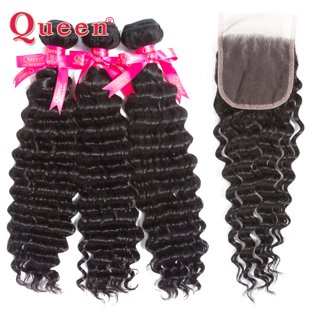 Queen Hair Deep Wave Bundles With Lace Closure Brazilian Human Hair Weave 3/4 Bundles With Closure 100% Remy Hair Extensions-in 3/4 Bundles with Closure from Hair Extensions & Wigs    1