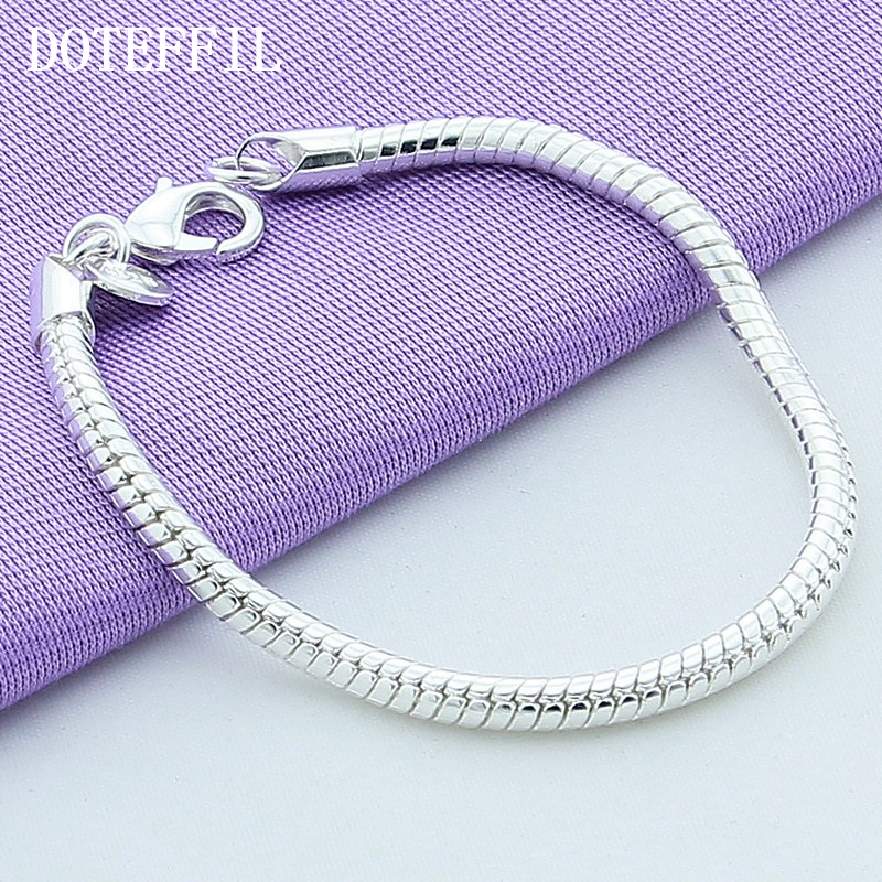 1 Pcs 925 Sterling Silver Lobster Clasp Snake Chain Fit European Charm Bracelet For Women Plated Silver Bracelet